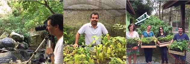 Mario Barila em ação: fotografando as maravilhas da Ilha, buscando um novo carregamento de mudas no Viva Floresta e fazendo a entrega de árvores na escola da comunidade do Bonete